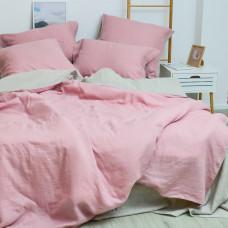 Комплект постільної білизни Євро Льон Сіро-рожевий